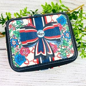 Brighton Cream Red and Blue Floral Jewelry Case